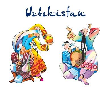 Uzbekistan traditional dances vector illustration