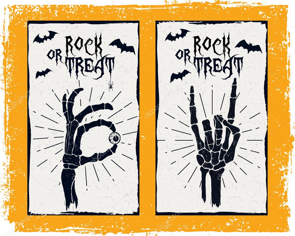 Halloween card with skeleton hands and bats