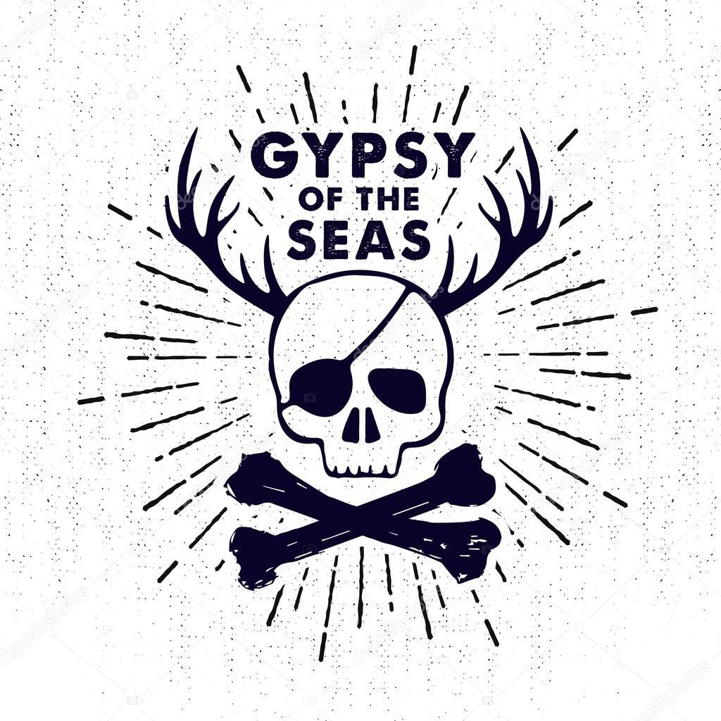 Dibujado Insignia Vintage Mano Con Calavera Pirata Y Letras