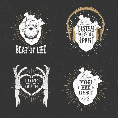 Romantic posters with human heart, skeleton hands, gramophone ho