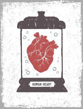 Human heart in a medical jar vector illustration.