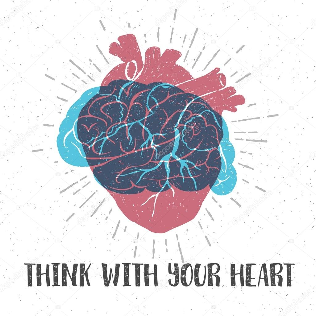 Hand drawn textured romantic poster with red human heart, blue brain, and inspiring lettering vector illustrations. clipart vector