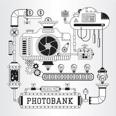 Microstock work process steampunk vector illustration.