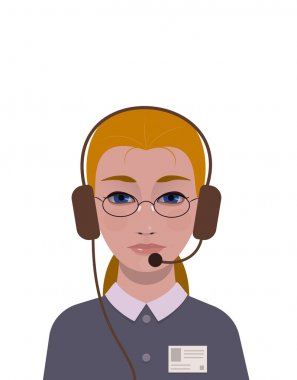 support girl with id badge and headphones