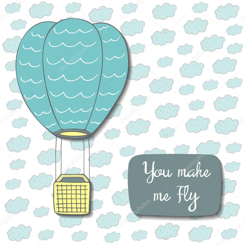 Cute postcard with air balloon