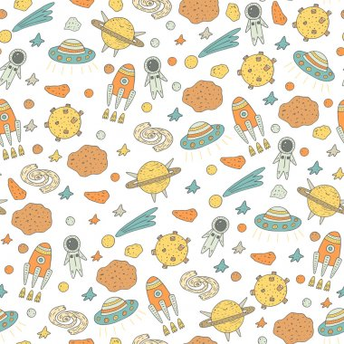 Cute pattern with cosmic objects