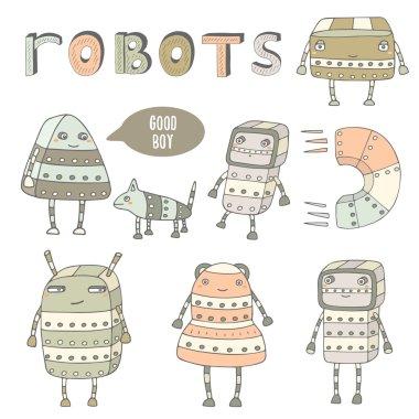 Cute steam punk robots collection