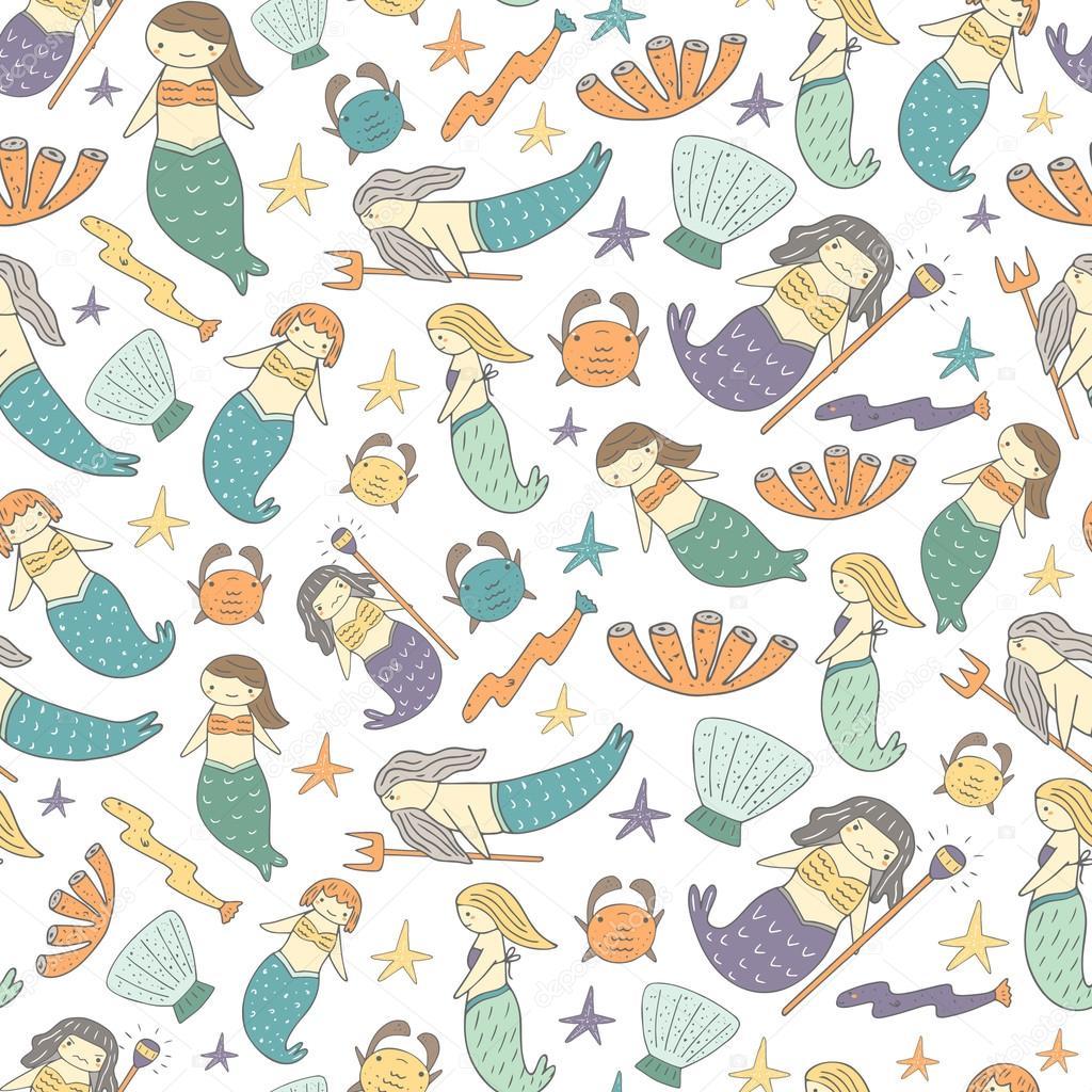 Cute mermaid fairy tale seamless pattern