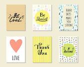 Fotografie Niedliche handgezeichnete doodle Postkarten, Karten