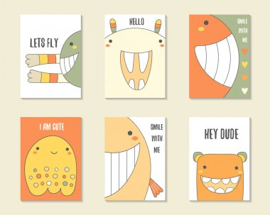 Cute hand drawn doodle birthday, party cards