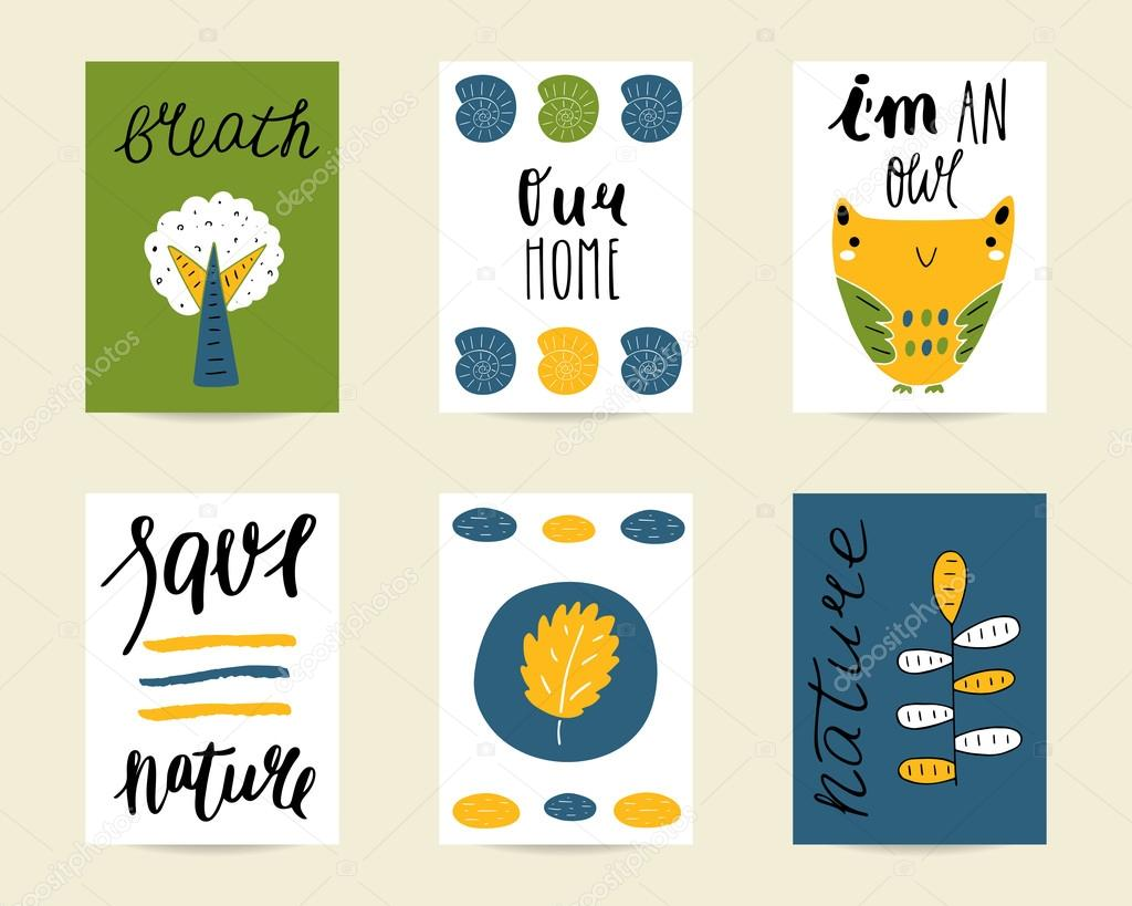 Cute hand drawn doodle postcards