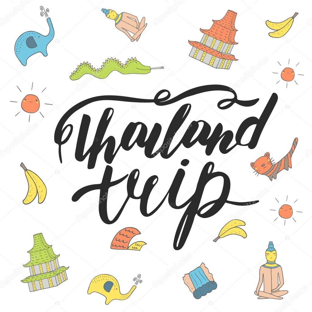 Cute hand drawn Thailand trip  postcard