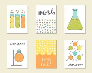 Cute hand drawn doodle postcards, cards, covers