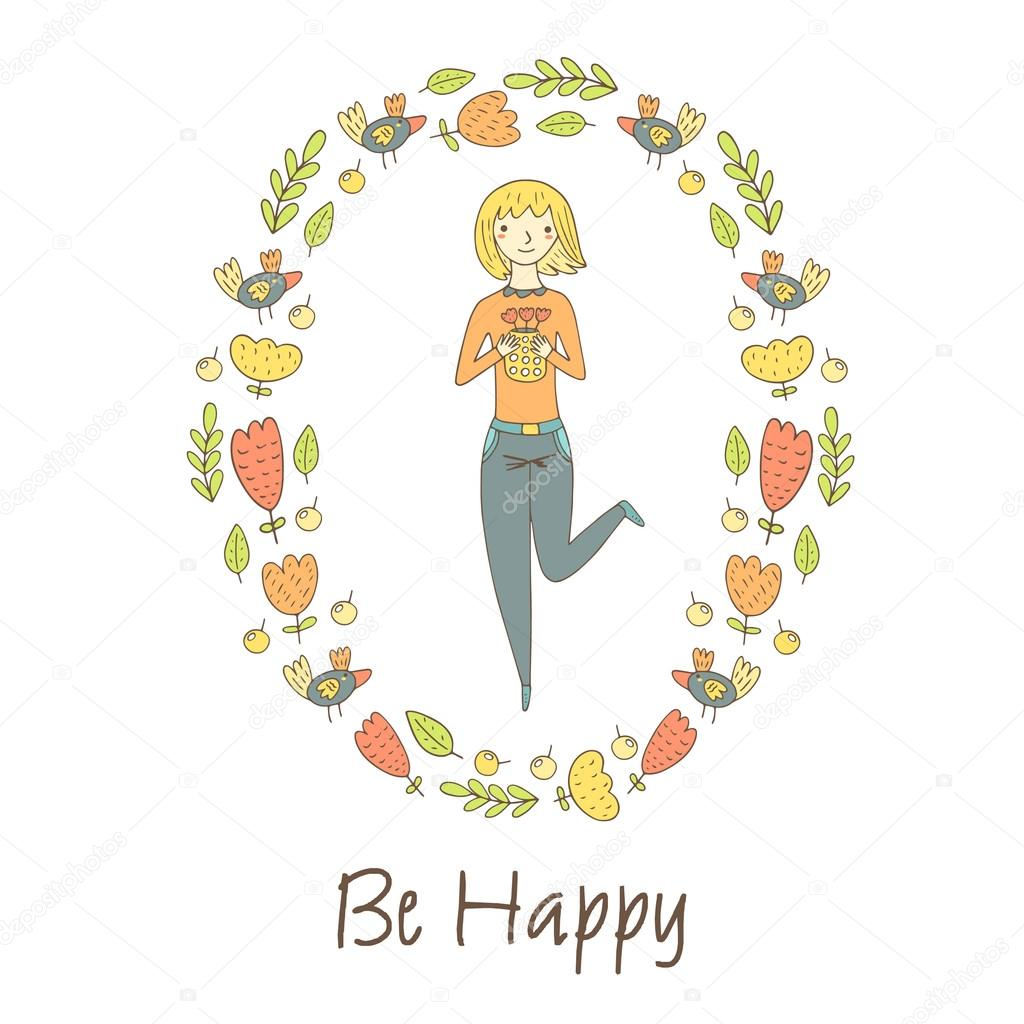 Cute doodle postcard, card, cover with happy blonde girl