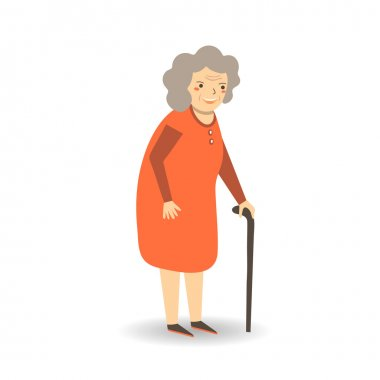 Cute flat style old lady