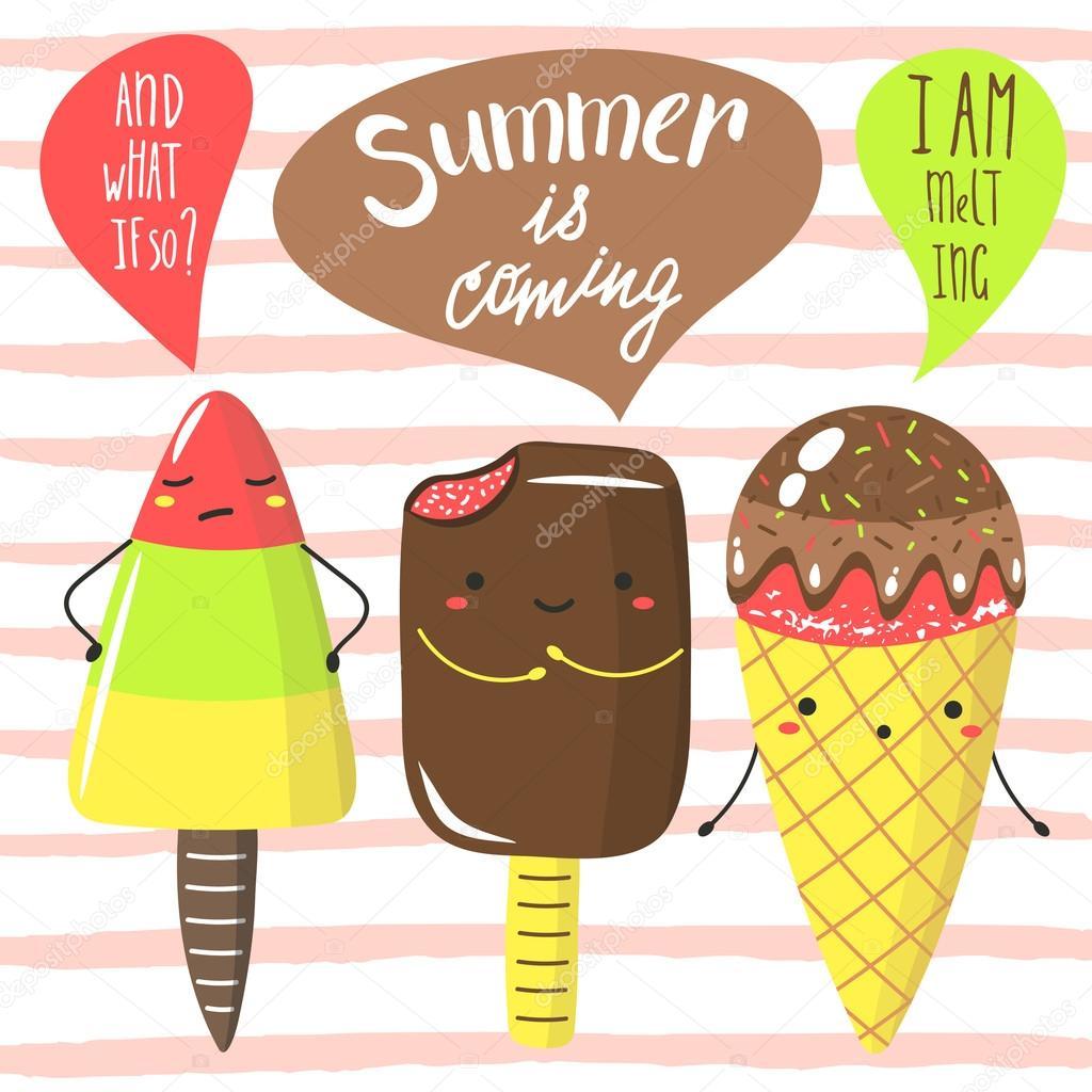 Cute Summer Is Coming Card U2014 Vetores De Stock