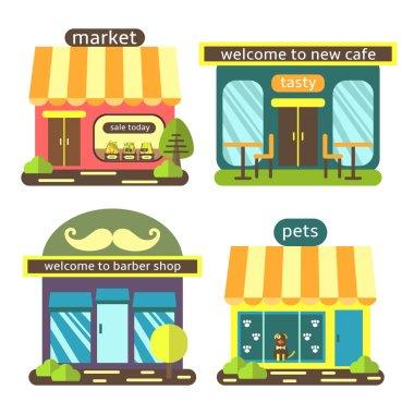 Cute flat style street shops set