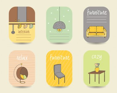 Cute doodle interior, furniture cards