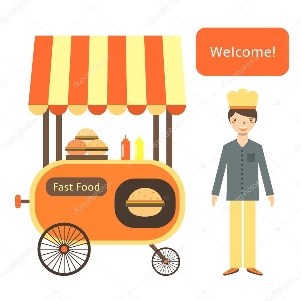 Calle carro de plano estilo comida r pida vector de for Donde comprar ruedas estilo industrial