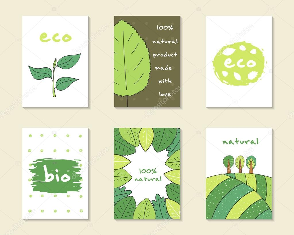 Cute hand drawn nature cards