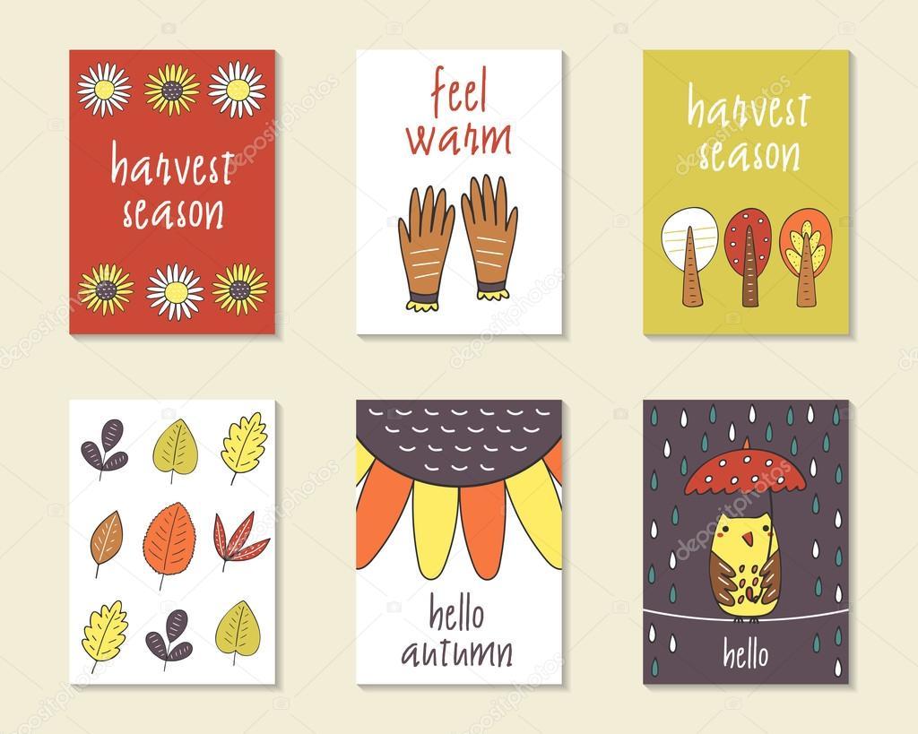 Cute doodle autumn cards