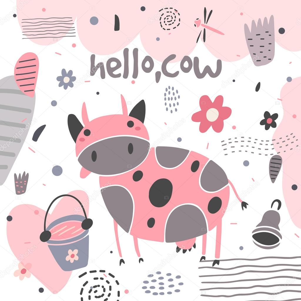 Cute hand drawn card, postcard with cow