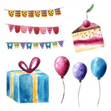 Watercolor birthday, holiday, party objects collection