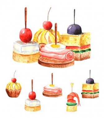 Watercolor cute canapes collection