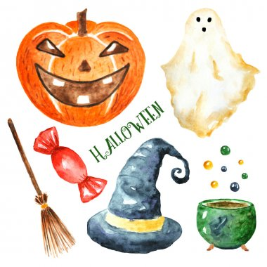 Watercolor Halloween objects collection