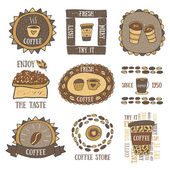 Fotografie Cute hand drawn doodle coffee banners