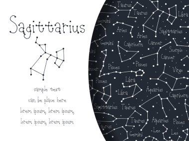 Hand drawn doodle Sagittarius card