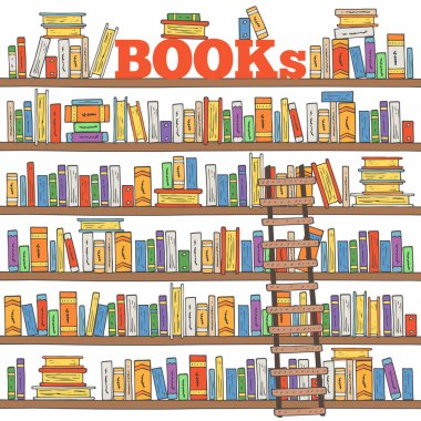 Hand drawn books shelves collection