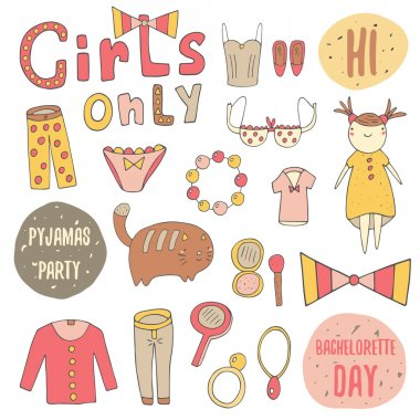Cute doodle girl objects collection