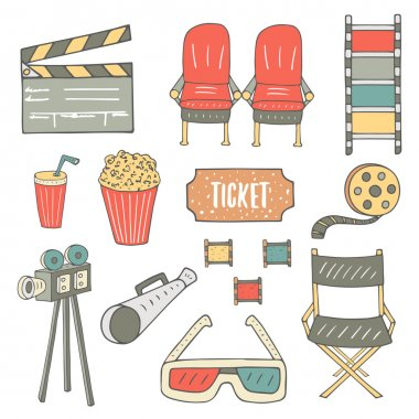 Hand drawn cinema industry objects