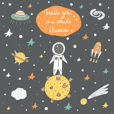Cute hand drawn cosmic doodle card
