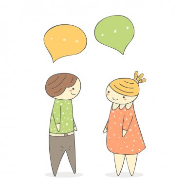 Cute hand drawn doodle chatting boy and girl.