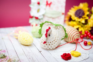 Close up picture on set of colorful eggs and gift decorations