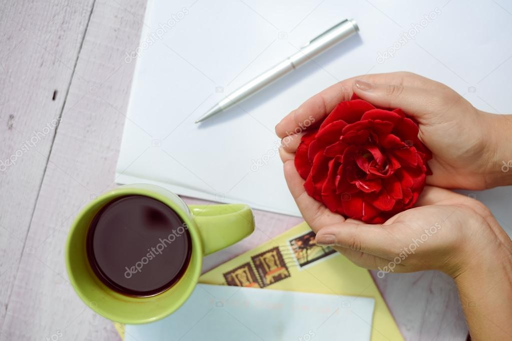 Hands holding rose flower surrounded with coffee cup, pen and paper over white wooden texture background, close up picture