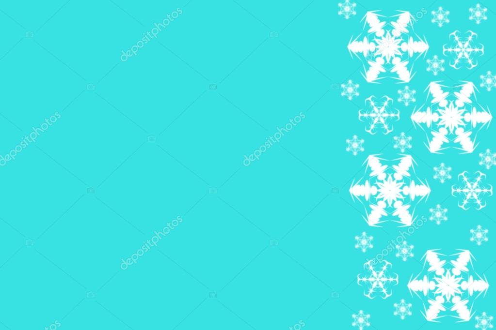 bright blue background with white snowflakes border on right side