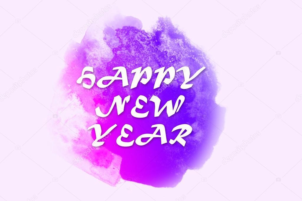 Glückliche Grüße des neuen Jahres writed auf hellem lila Aquarell ...