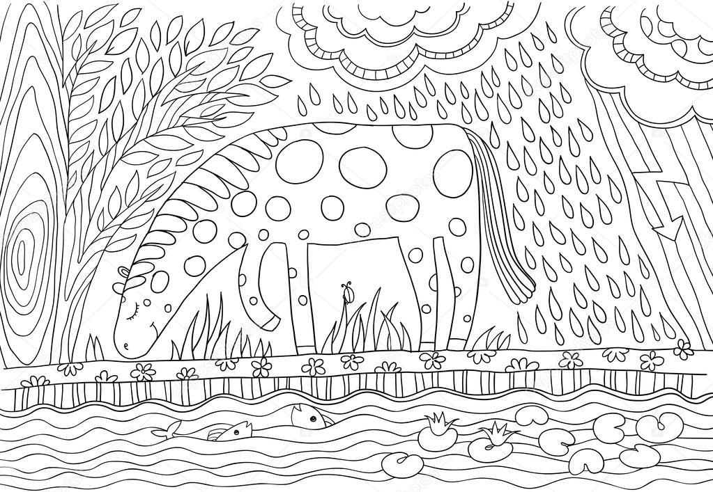 Imágenes: estepa para colorear | un caballo en un campo — Vector de ...
