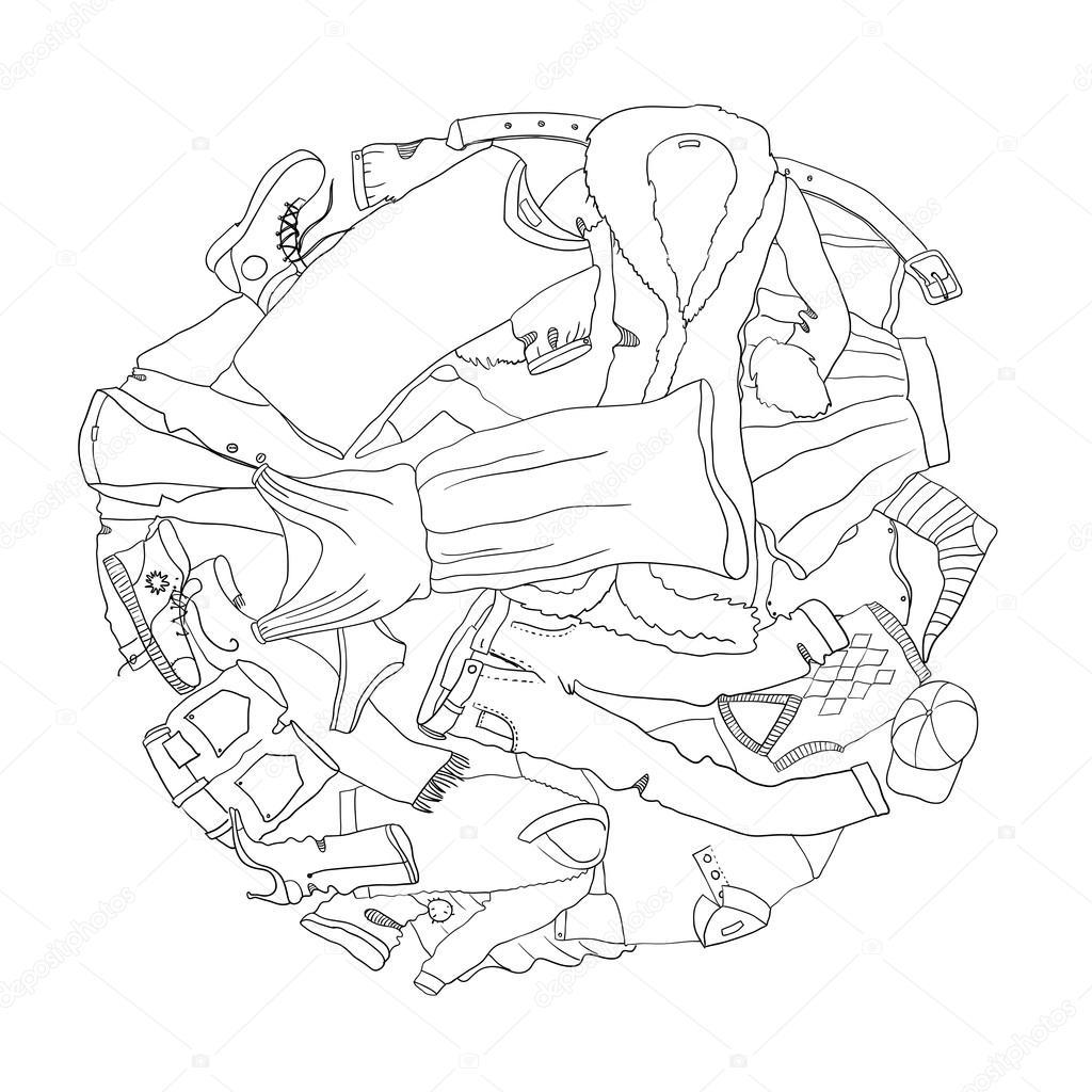 ropa para colorear libro — Vector de stock © KatBuslaeva #106045408