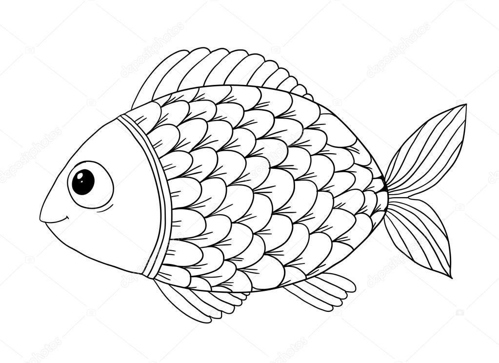 Omalov nky s rybami stock vektor katbuslaeva 106052980 for Disegni pesciolino arcobaleno