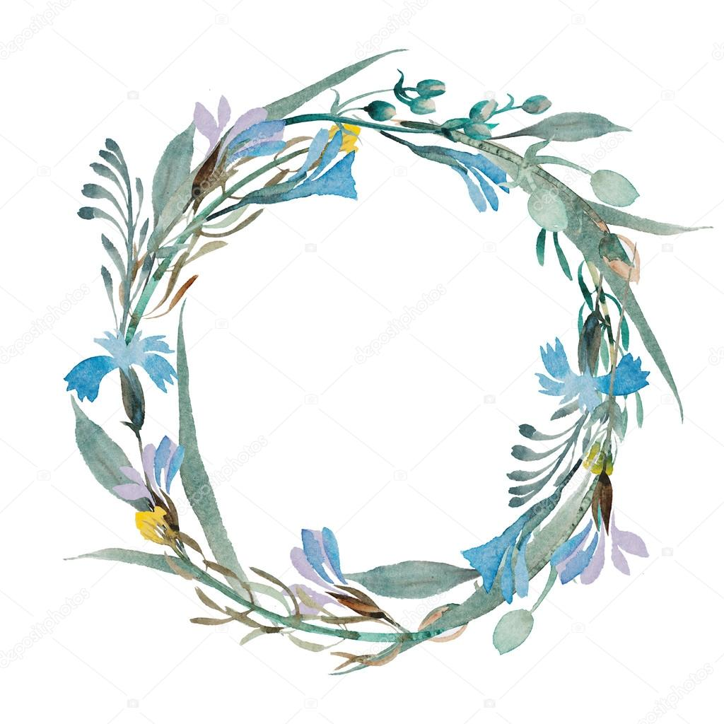 Romantic wreath of blue flowers painted in watercolor stock photo romantic wreath of blue flowers painted in watercolor stock photo izmirmasajfo