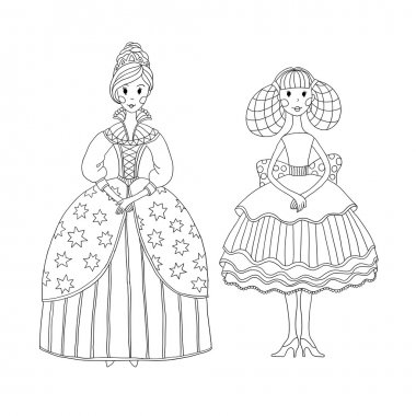 Princess and ballerina for coloring book.