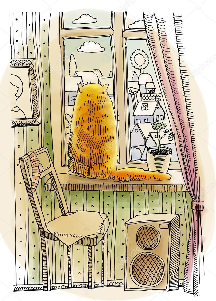 Gatto rosso seduto sulla finestra vettoriali stock for Piani domestici su ordinazione arizona
