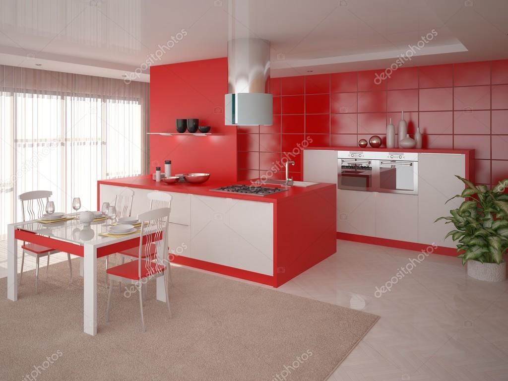 Interer Vermelho Cozinha Stock Photo Wodoplyasov 100734132