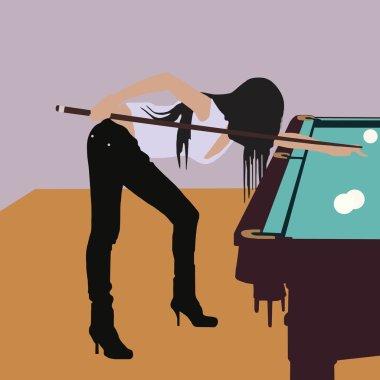 girls playing billiards