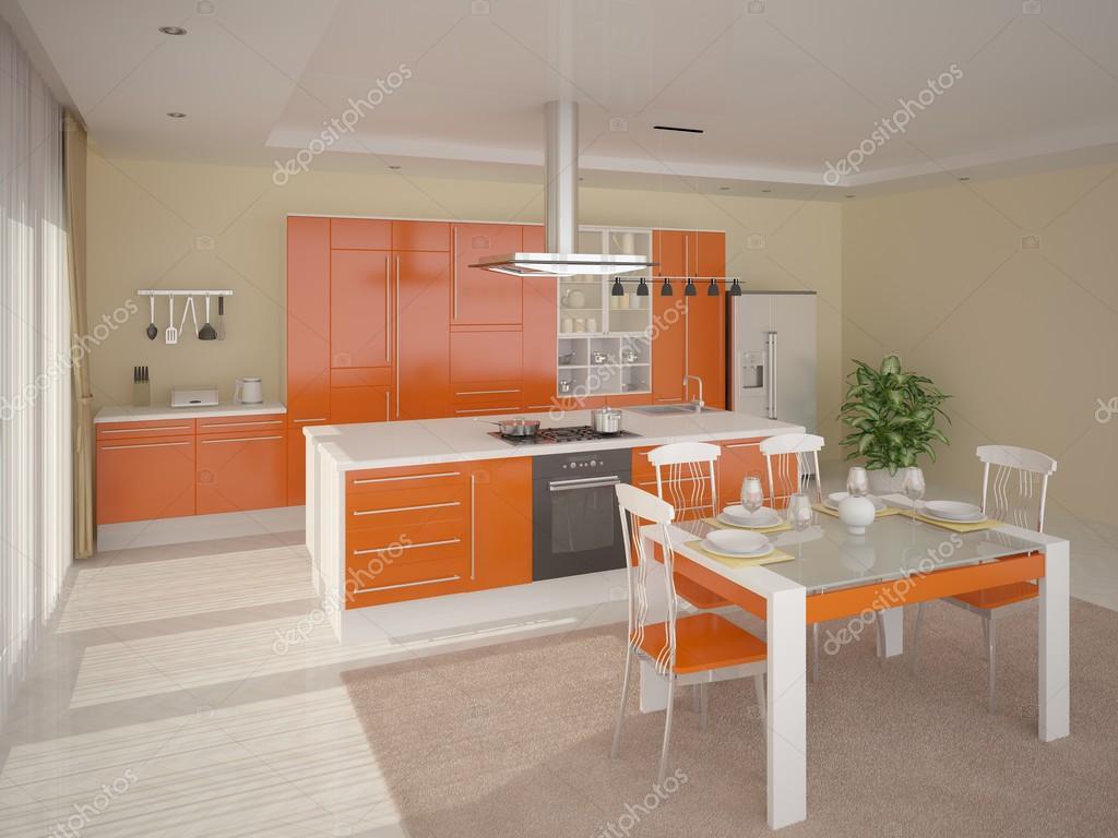 Moderne Küche Mit Hellen Orange Möbel U2014 Foto Von Wodoplyasov