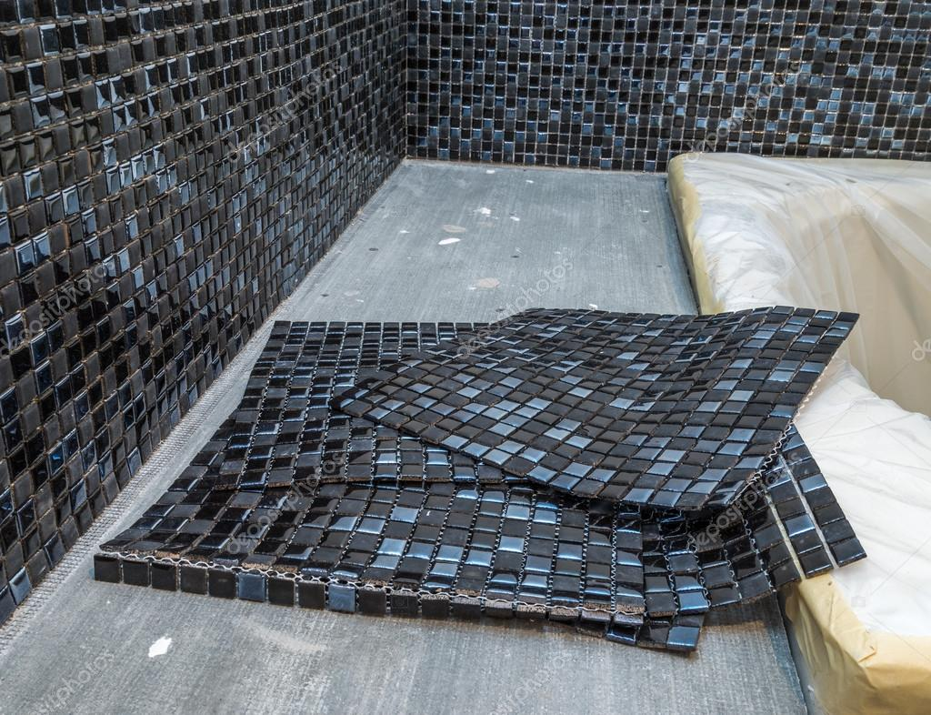 Black mosaic tiles — Stock Photo © a_oldman #74368997